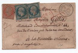1858 - ENVELOPPE De MAUBOURGUET (HAUTES PYRENEES) Pour LA NOUVELLE ORLEANS (ETATS UNIS) Avec PC 1926 Sur N° 14 X2 & 16 - Marcophilie (Lettres)