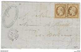 009. LAC 2ex. N°9 Bistre-brun - De ST PIERRE D'OLERON (Charente Inférieure) - 1854 - Marcophilie (Lettres)