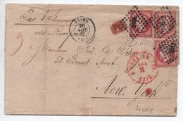 1862 - LETTRE TRIPLE PORT De REIMS (MARNE) Pour NEW YORK (ETATS UNIS / USA) Avec PC 2642 Sur PAIRE + 1 N° 17 - Storia Postale