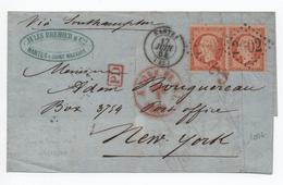 1864 - LETTRE De NANTES (LOIRE ATLANTIQUE) Pour NEW YORK (ETATS UNIS / USA) Avec GC 2602 Sur PAIRE N° 23 - Marcofilie (Brieven)