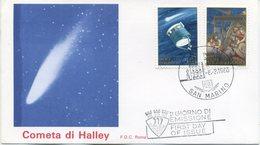 SAN MARINO - FDC ROMA 1986 - COMETA DI HALLEY - SPAZIO - ARTE - FDC
