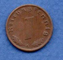Allemagne -  1 Reichspfennig  1939 A-  Km #  89-    état  TTB +  -- - [ 4] 1933-1945 : Troisième Reich