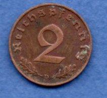Allemagne -  2 Reichspfennig  1939 D-  Km #  90-    état  TB  -- - [ 4] 1933-1945 : Third Reich