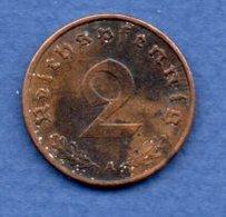 Allemagne -  2 Reichspfennig  1939 A-  Km #  90-    état  TTB  -- - [ 4] 1933-1945 : Troisième Reich