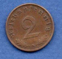 Allemagne -  2 Reichspfennig  1938 A-  Km #  90-    état  TTB + -- - [ 4] 1933-1945 : Troisième Reich