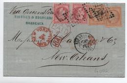 1873 - LETTRE 4° ECHELON De BORDEAUX (GIRONDE) Pour LA NOUVELLE ORLEANS (USA) Avec GC 532 Sur N° 32 & 38 TYPE SIEGE - Marcophilie (Lettres)
