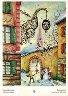 "CPSM Originale Calendrier De L'Avant De Irène Schricker De 1965 - Adventskalender "" Winterfreuden "" - Santa Claus"