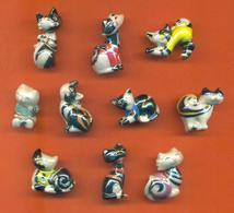 Serie Complète De 10 Feves Les Chats Designs - Animals