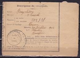 1902 Description Du Vélocipede / Customs Bike Registration Label From Douanes Francaise Bureau Givet - Documents Historiques