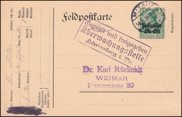Zensur Postgebiet Oberbefehl Ost 3 Germania 5 Pf. EF Auf Postkarte MITAU 30.5.16 - Occupation 1914-18