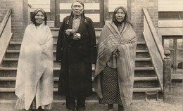 3 Elderly Natives  Standing In Front Of A Public Building (possibly A School) R. P. P. C. - Native Americans