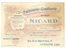 Carte Commerciale Patisserie Confiserie Maison Sicard , Chocolat, Glacier, Aubagne - Publicités