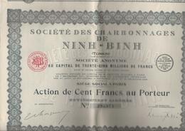 SOCIETE DES CHARBONNAGES DE NINH-BINH -TONKIN - LOT DE 8 ACTIONS -ANNEE 1928 - Mines