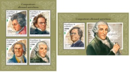 Guinee 2018 Germany Austria Composers Mozart Schubert Beethoven Haydn MS+S/S GU18510a - Famous People