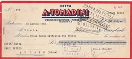 Cambiale Marca Da Bollo Da Pastificio TOMADINI A ZANCO EMILIO Di Aviano 1952 - Italia