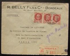 Bordeaux R. Belly & Cie  1944 Lettre Recommandée  Pour Paris , Timbres Pétain - Marcophilie (Lettres)