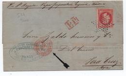"""1870 - TàD ROUGE """"AFFRANCHISSEMENTS PARIS"""" Sur LETTRE Pour VERA CRUZ (MEXICO / MEXIQUE) Avec ETOILE Sur N° 32 - 1849-1876: Classic Period"""