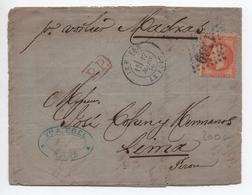 1870 - LETTRE PAR VOILIER MADRAS De LE HAVRE / LE PORT (SEINE MARITIME) Pour LIMA (PEROU) Avec GC 1769 Sur N° 31 - 1849-1876: Période Classique