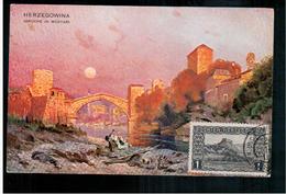 BOSNIA Brücke In Mostar Ca 1910 OLD POSTCARD 2 Scans - Bosnia And Herzegovina