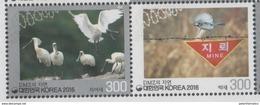 SOUTH KOREA, 2016, MNH, FAUNA  IN THE  DMZ, BIRDS, 2v - Birds