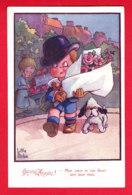 """Illust-1036P118  LITTLE PITCHE, """"""""mon Coeur Et Ces Fleurs Sont Pour Vous"""""""", Enfants, Chien, Cpa BE - Autres Illustrateurs"""