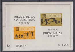 MEXICO 1968 OLYMPIC GAMES FOOTBALL WEIGHTLIFTING S/SHEET - Zomer 1968: Mexico-City