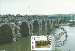 Spain Maxicard – España Tarjeta Máxima Con Sello Personalizado Del Puente Romano Sobre El Río Guadiana De Mérida - Cartoline Maximum