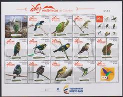 COLOMBIA, 2018, MNH, BIRDS, PARROTS, HUMMING BIRDS, SHEETLET OF 12v+TABS - Kolibries