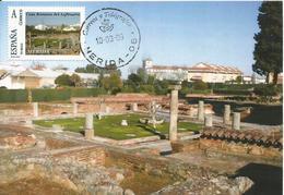 Spain Maxicard – España Tarjeta Máxima Con Sello Personalizado De La Casa Del Anfiteatro Romano De Mérida - Archaeology