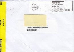 Netherlands PRIORITY Prioritaire 2018 Cover Brief To BRØNDBY STRAND Denmark Danish Told Customs Zoll Douane Label - Period 1980-... (Beatrix)