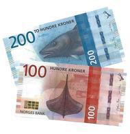 NORWAY 100 & 200 KRONER 2016 P.54-55 UNC [NO054a-55a] - Norvège