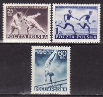POLAND 1954  Mi 861-863 Sport Spartakiada  MNH** VF - 1944-.... République
