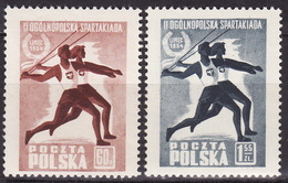 POLAND 1954  Mi 864-865 Sport Spartakiada  MNH** VF - 1944-.... République
