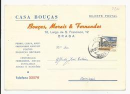 Commercial Card * Portugal * 1973 * Braga * Bouças, Morais & Fernandes - Covers & Documents