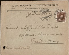 1914 Lettre Commerciale Timbre 17 1/2C Brun, Michel: 95, Cachet Luxembourg  5.3.1919, 2Scans - 1914-24 Marie-Adelaide