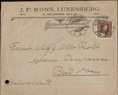 1914 Lettre Commerciale Timbre 17 1/2C Brun, Michel: 95, Cachet Luxembourg  5.3.1919, 2Scans - 1914-24 Marie-Adélaïde