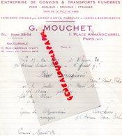 75- PARIS- RARE LETTRE G. MOUCHET-ENTREPRISE CONVOIS TRANSPORTS FUNEBRES-IMPRIMERIE LETTRES DECES-1941 - Transports