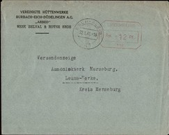 1941 Lettre Commerciale  Vereinigte Hüttenwerke Arbed Werk Belval & Rothe Erde 22.1.1941 - Luxembourg