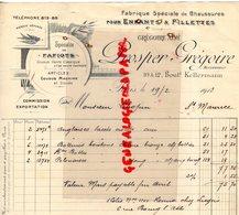 75- PARIS- FACTURE PROSPER GREGOIRE-FABRIQUE CHAUSSURES ENFANTS FILLETTES-SOECIALITE DE FAFIOTS-HIRONDELLE-1913 - Textile & Vestimentaire