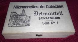 MIGNONNETTE ANCIENNE COFFRET DE 6 BOUTEILLES DE VIN DE ST EMILLION DELMONTEIL N°1 1985 - Miniatures