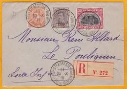 1915 - Enveloppe Recommandée De Sainte Adresse, France (Gouvernement Belge En Exil) Vers Le Pouliguen - Weltkrieg 1914-18