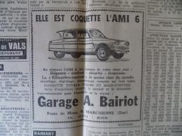 Publicité De Presse // Citroen Ami6 - Garage A. Bairiot à Marchienne - Autres