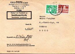 """(FC-9) DDR Dienstpost, Zustellungsurkunde, """"Kreisgericht Görlitz"""" MiF Mi 2483+2602 TSt 8.3.1988 GÖRLITZ 1 - Service"""
