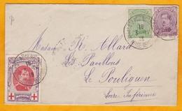 1916 - Enveloppe De Sainte Adresse, France (Gouvernement Belge En Exil) Vers Le Pouliguen - Cad Arrivée - Weltkrieg 1914-18