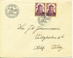 Denmark Cover Vanlöse 26-1-1946 Round Tower Red Cross Stamps In Pair - Denmark
