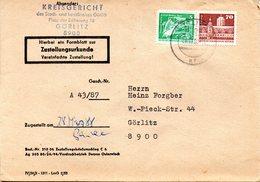 """(FC-9) DDR Dienstpost, Zustellungsurkunde, """"Kreisgericht Görlitz"""" MiF Mi 2483+2602 TSt 28.3.1988 GÖRLITZ 1 - Service"""