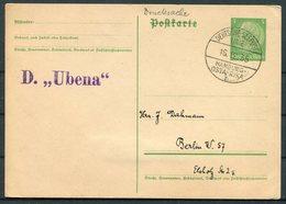 1935 Germany DR Stationery Postcard Deutsche Seepost Hamburg Ostafrika Linie UBENA Ship - Deutschland