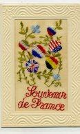MILITARIA - Carte Brodée - Souvenir De France - Fleurs Aux Couleurs Des Drapeaux Des Alliés - Brodées
