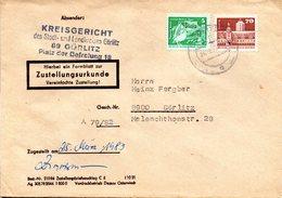 """(FC-9) DDR Dienstpost, Zustellungsurkunde, """"Kreisgericht Görlitz"""" MiF Mi 2483+2602 TSt 24.3.1983 GÖRLITZ 1 - Service"""