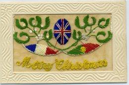 MILITARIA - Carte Pochette Brodée - MERRY CHRISTMAS - Gui, Aux Couleurs Des Drapeaux Des Alliés - Brodées